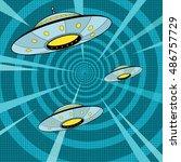 space attack ufo  pop art retro ... | Shutterstock .eps vector #486757729