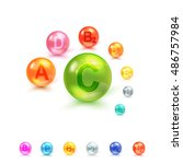 vitamin complex colorful vector ... | Shutterstock .eps vector #486757984