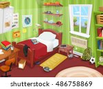 teenager bedroom with object ... | Shutterstock .eps vector #486758869
