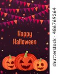 halloween pumpkins with party... | Shutterstock .eps vector #486769264