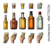 set alcohol drinks with bottle  ... | Shutterstock .eps vector #486770224