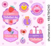 valentine's day elements   ... | Shutterstock .eps vector #486784240