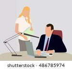working in the office | Shutterstock .eps vector #486785974