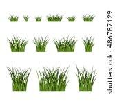 green grass bushes set. nature... | Shutterstock . vector #486787129