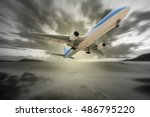airplane in the sky with... | Shutterstock . vector #486795220