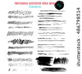 pencil grunge brushes. abstract ... | Shutterstock .eps vector #486798514
