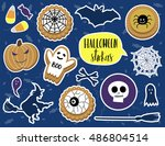 halloween stickers and patch... | Shutterstock .eps vector #486804514
