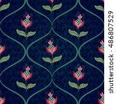 seamless vector floral... | Shutterstock .eps vector #486807529