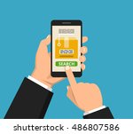 hand holding smartphone with... | Shutterstock .eps vector #486807586
