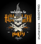 halloween poster with zombie... | Shutterstock .eps vector #486809980