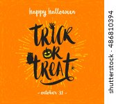 trick or treat   hand drawn... | Shutterstock .eps vector #486810394