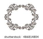 hand drawn vintage damask...   Shutterstock .eps vector #486814804