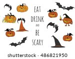 halloween vector set. cartoon... | Shutterstock .eps vector #486821950