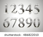 mathematics numeral silver  on... | Shutterstock .eps vector #486822010
