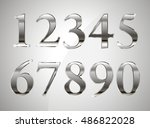 mathematics numeral silver  on... | Shutterstock .eps vector #486822028