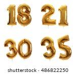 golden birthday balloons... | Shutterstock . vector #486822250