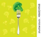 green broccoli on a metal fork... | Shutterstock .eps vector #486824968