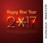 happy new year 2017 text design.... | Shutterstock .eps vector #486825190