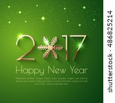 happy new year 2017 text design.... | Shutterstock .eps vector #486825214