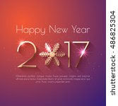 happy new year 2017 text design.... | Shutterstock .eps vector #486825304