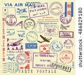 vector document stamp set.... | Shutterstock .eps vector #486829180