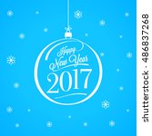 happy new year 2017. lettering. ... | Shutterstock .eps vector #486837268