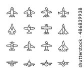 set line icons of plane | Shutterstock .eps vector #486839938