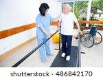 elder retired man assisted by...   Shutterstock . vector #486842170