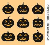 pumpkins set for halloween | Shutterstock . vector #486842380