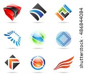 various colorful abstract icons ... | Shutterstock . vector #486844084