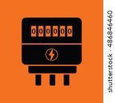electric meter icon. orange... | Shutterstock .eps vector #486846460