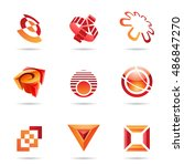 various red abstract icons... | Shutterstock . vector #486847270
