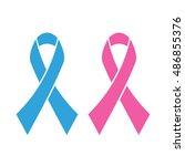 pink and blue ribbons  breast... | Shutterstock .eps vector #486855376