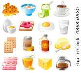 healthy organic breakfast food... | Shutterstock .eps vector #486856930