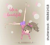 hand drawn beautiful cute girl...   Shutterstock .eps vector #486861418