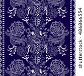 lace bohemian seamless border... | Shutterstock . vector #486866554
