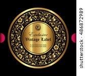 luxury ornamental gold label | Shutterstock .eps vector #486872989