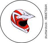 motocross enduro atv helmet | Shutterstock .eps vector #486873664