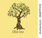 logo of olive tree with berries ... | Shutterstock .eps vector #486879154