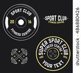 vector image of gym logo | Shutterstock .eps vector #486880426