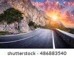 Asphalt Road. Landscape With...