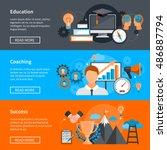 horizontal mentoring coaching... | Shutterstock .eps vector #486887794