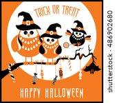 trick or treat   halloween  ... | Shutterstock .eps vector #486902680