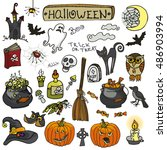 halloween party icons.doodle... | Shutterstock . vector #486903994