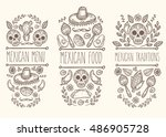 mexican food sketch doodle... | Shutterstock .eps vector #486905728