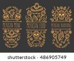 mexican food sketch doodle... | Shutterstock .eps vector #486905749