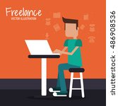 man and freelance design | Shutterstock .eps vector #486908536
