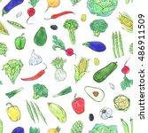 hand drawn watercolor seamless... | Shutterstock . vector #486911509