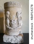 Small photo of Funeral stone urn from Roman times.