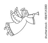 cute flying angel with flute.... | Shutterstock .eps vector #486914380